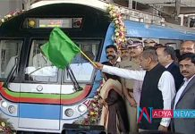 Governer Narasimhan flagged of ameerpet to hitech city metro rail service