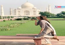 Kajal Agarwal giving kisses to Taj Mahal
