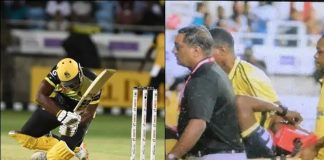 CPL 2019 :Andre Russell suffers brutal blow on helmet in CPL