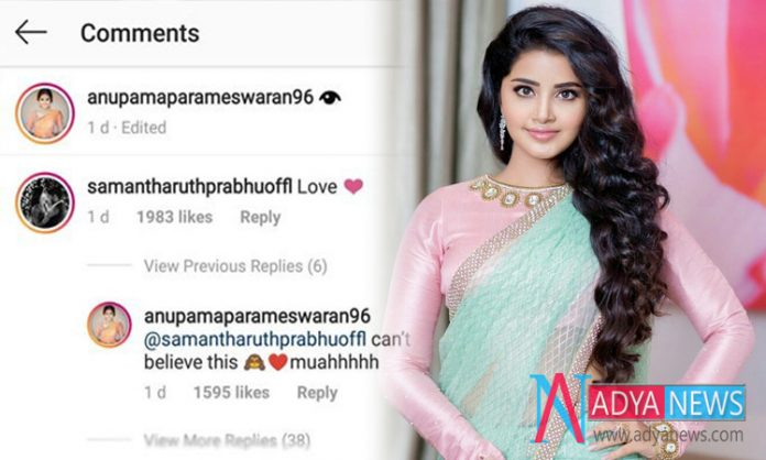 Anupama Surprised With Samantha's Reaction On Her Instagram Post